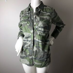 J. Crew Camo Button Up Shirt 8 Green Cotton